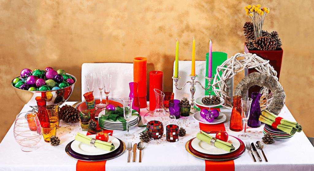 ünnepi asztalteríték színes